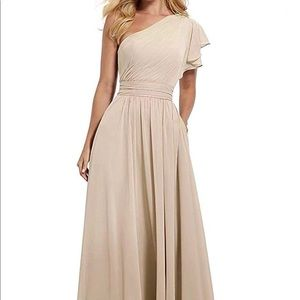 Champagne/nude one-shoulder bridesmaid/prom dress